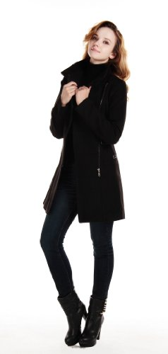 Charex® Women Woolen Trench Coat with Belt Military S Black