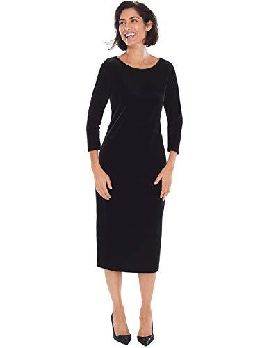 Chicos Velvet - Chico's Women's Travelers Collection Velvet Dress Size 4/6 S (0) Black