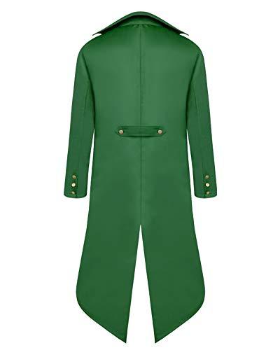 Penggenga Costume Nero Tailcoat Cappotto Vittoriano Giacca Verde Lungo Steampunk Per Halloween Gotico Lunga Uomo p7pwqFr