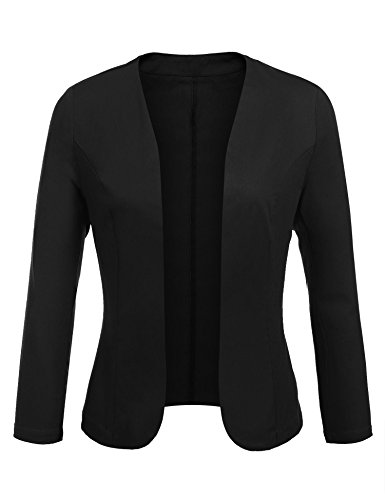Concep Women's Cropped Blazer Casual Work Office Jacket Lightweight Slim Fit Cardigan (Black, L) (Collarless Cropped Jacket)