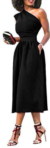 Jaycargogo Une Robe Swing Couleur Unie Sexy Manches Épaule Noir Femmes
