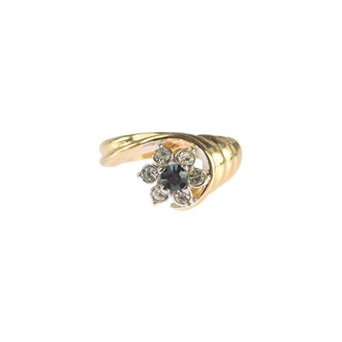 Providence Vintage Jewelry 1980's Ring Pinfire Opal Sapphire Swarovski Crystal 18k Gold Electroplated 18k Gold Electroplated