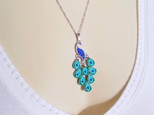 - Peacock Necklace with Lapis Lazuli Beads and Rhodium Chain - Hand Painted Peacock Pendant