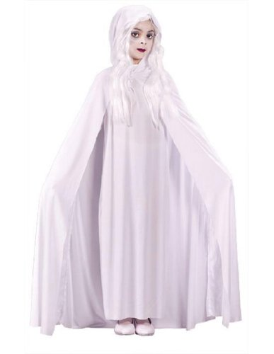 Morris Costumes Gossamer Ghost Child Large Hooded Cape Polyester Popular (Womens Ghostly Wig)