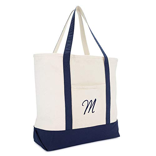 (DALIX Monogram Tote Bag Personalized Initial Navy Blue - M )