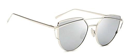 WebDeals - Cat Eye Mirrored Metal Frame Flat Lenses Crossbar Womens Sunglasses (Silver, Silver - Wire Frame Gradient Sunglasses