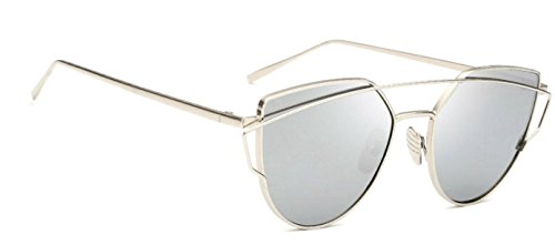 WebDeals - Cat Eye Mirrored Metal Frame Flat Lenses Crossbar Womens Sunglasses (Silver, Silver - Cross Wayfarer Silver