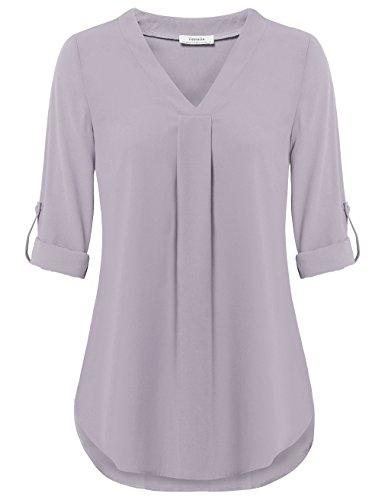 Youtalia Tunic Blouses Women, Ladies Elegant V Neck Pleated Shirts Cuffed Sleeve Casual Chiffon Tops (Large, ()