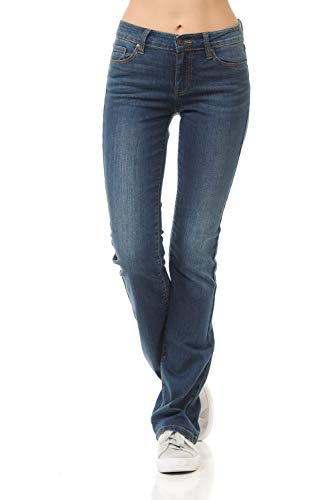 Urban Look Women's Basic Low Rise Slim Boot-Cut Jeans 0~3XL (7, 1 Dark)
