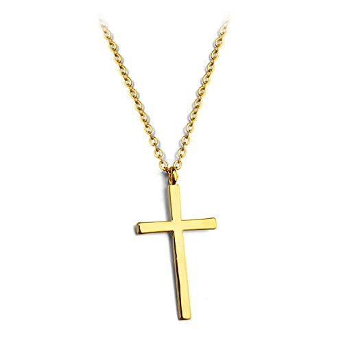 Simple Smooth Cross Pendant Necklace Fashion Jewelry 18-Inch (Small Gold Plated)
