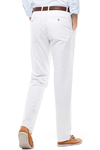 Men's Stretch Casual Pants Flat Front Regular Fit Dress Pants Trousers for Men,Size 34 White Pants by MIYA (Image #3)