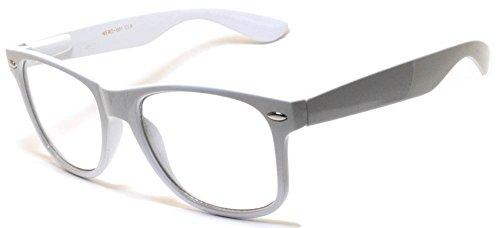 Unisex Vintage Retro Style Sunglasses with Clear Lens White - Framed White Glasses