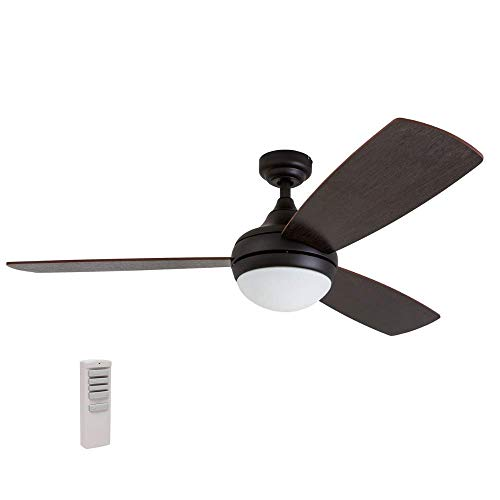 (Prominence Home 80036-01 Calico Modern/Contemporary LED Ceiling Fan with Remote Control, 52 inches, Energy Efficient, Cased White Integrated Light Kit, Bronze)
