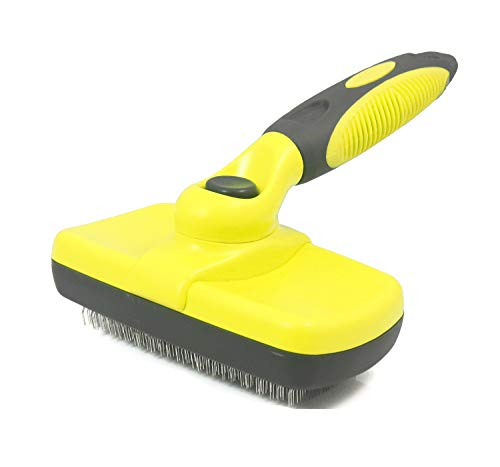 Pet Hair Remover Self Cleaning Slicker Brush for Dogs Cats-Easy to Clean Ergonomic Handle, Non-Slip Design