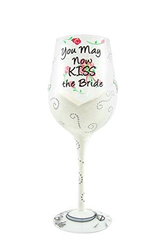 Top ShelfquotYou May Now Kiss the Bridequot Wine Glass  Unique HandPainted Wedding Gift 15oz