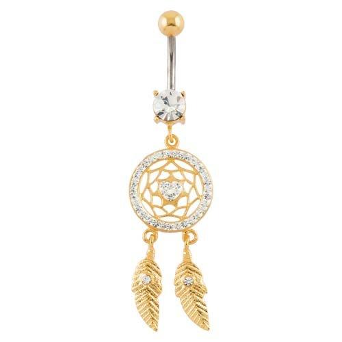 PIERCINGLINE® piercing nombril titane doré argent 925 ATTRAPEUR DE REVES COEUR 10 mm cristallin