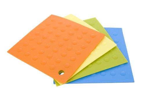 MIU France Set of 4 Silicone Pot Holders, Orange, Yellow,...