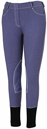 TuffRider Girl's Newbury Pull-On Breech with Contrast Stitching, Marine/White, - Stores Newbury