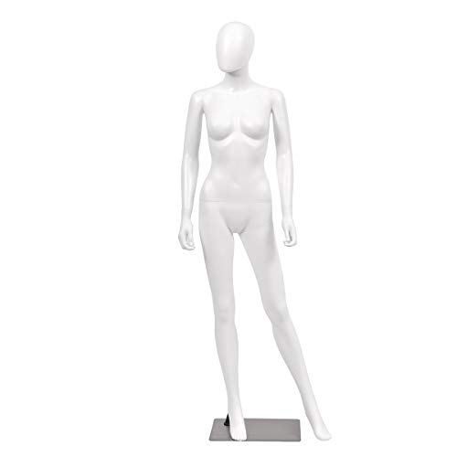 (Giantex 5.8 FT Female Mannequin Egghead Manikin Metal Stand Plastic Full Body (White Style 2))
