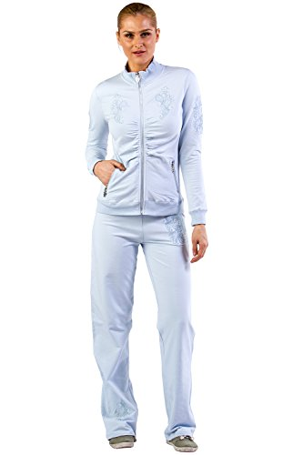 s Mock Neck Embroidered Lounge Tracksuit Jog Set - Blue - Small (Blue Embroidered Hoodie Pant)