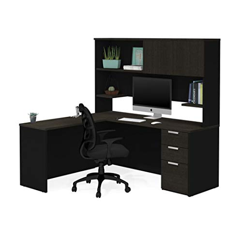 Bestar L-Shaped Desk with Pedestal and Hutch - Pro-Concept Plus