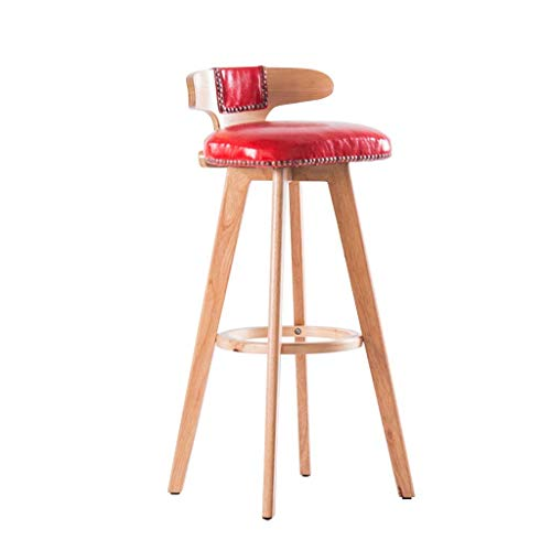 SZPZC Breakfast Kitchen Counter Bar Stools, Footrest PU Swivel Seat Backrest, High Stools Dining Chairs for Breakfast Kitchen | Pub | Café Stool Max. Load 440lb in Red Bar Chairs 27' Square Bar Table