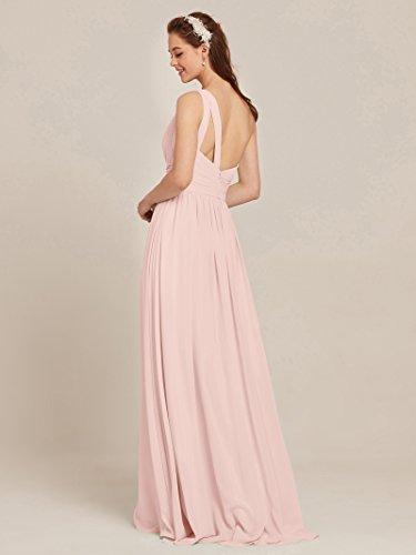 for Prom Chiffon Maxi Dress Shoulder Pearl Pink Bridal Bridesmaid Dress One AWEI Women zw0q51Z