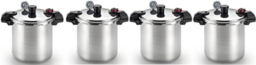 T-fal P31052 Polished Pressure Canner and Cooker with 2 Racks and 3-PSI Settings Cookware XUsilp, 22-Quart, Silver, 4 Pack by T-fal