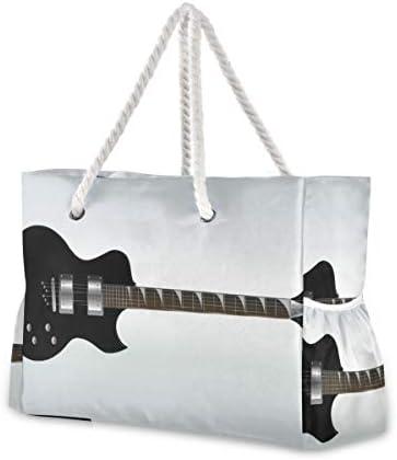 MORITA黒いエレキギター トートバッグ/肩掛け デイリー エコバッグ レディース ビーチバッグ ショルダー 収納 a4入り マザーBAG