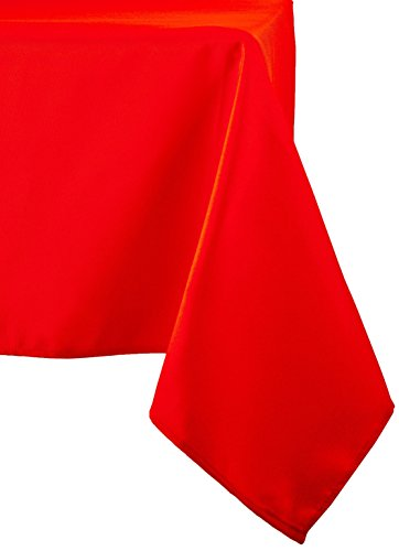 LinenTablecloth 60 x 126-Inch Rectangular Polyester Tablecloth Red (Red Table Clothes)