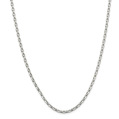 - 925 Sterling Silver 3.2mm Oval Polished Rolo Link Chain Necklace 24