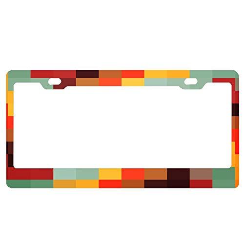 (ASLGlicenseplateframeFG Tiled Colorful Backgrund License Plate Novelty Auto Car Tag Vanity Gift for Police Officer)