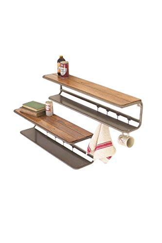 SET OF TWO WOOD AND METAL WALL SHELVES AND COAT HOOKS Review
