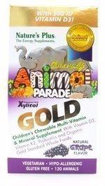 NaturesPlus Animal Parade Source of Life Gold Children's Multivitamin - Grape Flavor - 120 Chewable Animal Shaped Tablets - Organic, Vegetarian, Gluten-Free - 60 Servings (Animal Parade Gold Grape)