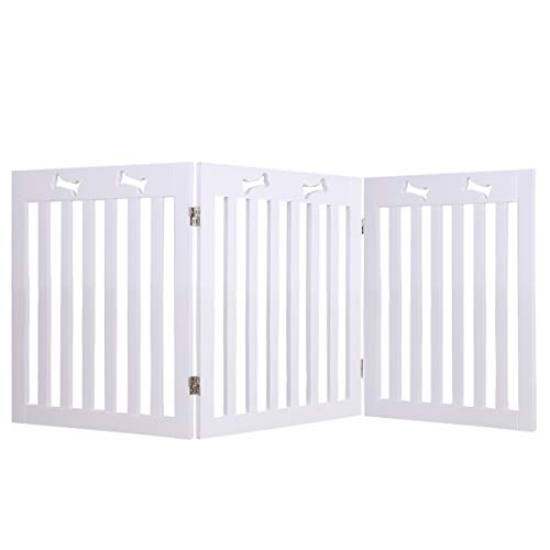 Docamor MDF Collapsible Pet Gate Freestanding Foldable Stair Gate for Dogs and Family Use, Z Shape Folding Step Over Fence, Dog Gate for Doorway, Stairways, 3 Panel 20'' ×24'' Porcelain White