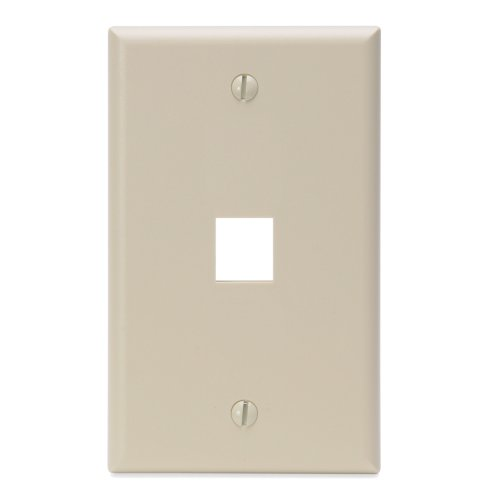 Leviton 41080-1IP 1-Port QuickPort Wall Plate, Ivory