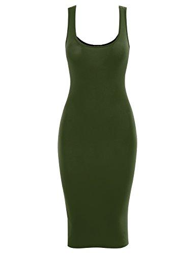 All for You Women's Slim Fit Midi Tank Dress Olive - Womens Dress Tank Green