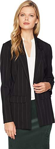 Liverpool Women's Boyfriend Blazer Wide Strip in Ponte Knit Black/White Wide Stripe Large