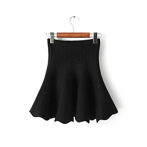 Nanxson(TM) Women's Basic Versatile Stretchy Flared Skater Skirt Q0005 black