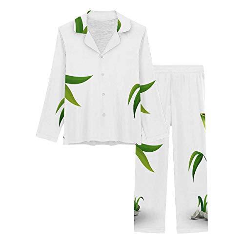 InterestPrint Long Sleeve Nightwear Button Down Loungewear for Women Green Bamboo Stems with Leaves