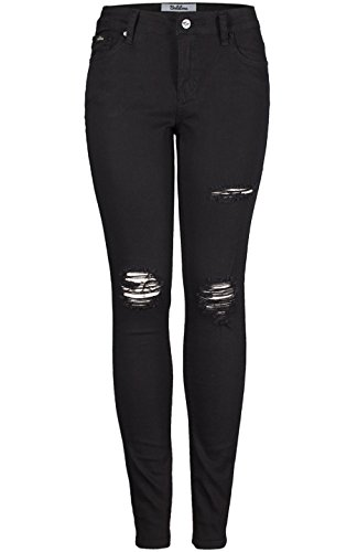 2LUV Women's Mid Rise Distressed Skinny Jeans Ripped on Thigh&Knee black1 1 (Super Skinny Rip Jeans)