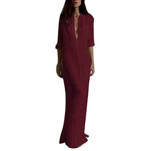 Pant Career Linen (AmyDong Women's Cotton Linen Long Maxi Dresses, Sexy Casual Long Sleeve V-Neck Solid Dress Wine Red)