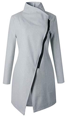 Long Sleeve Asymmetrical High Neck Zipper Side Wrap Collar Woolen Coat Trenchcoat Jacket Top Light Grey S