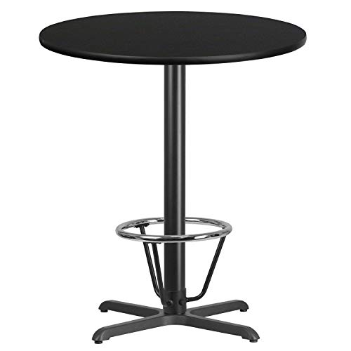 (MFO 36'' Round Black Laminate Table Top with 30'' x 30'' Bar Height Table Base and Foot Ring)