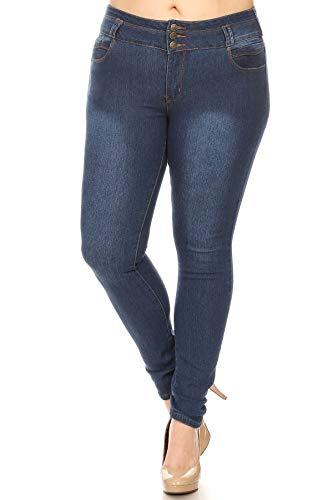Women's Plus Size High Waite Skinny Jeans Striped Whit Utility Pockets (15)
