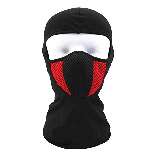 (Balaclava Motorcycle Face Mask Outdoor Motor Helmet Bandana Hood Ski Sport Neck Full Face Mask Windproof Dustproof Red)