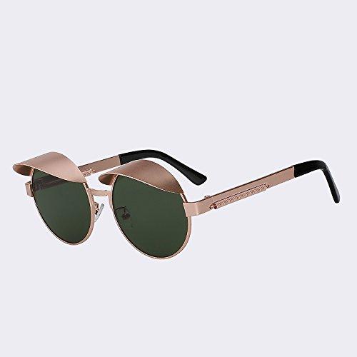 TIANLIANG04 Lunettes de soleil Style Caps Round Homme Femme Vintage Metal Steampunk lunettes UV400 Vintage de haute qualité ArvB76sPht