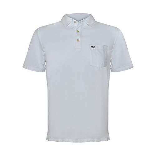 Vineyard Vines Men's Edgartown Short Sleeve Polo Shirt (White Cap, Medium)