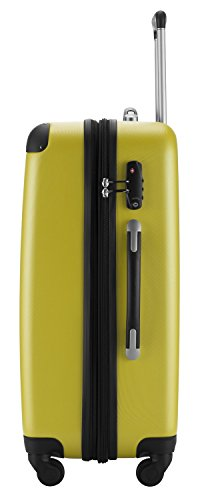 HAUPTSTADTKOFFER® Reisekoffer XL · Hartschalenkoffer · MATT ODER GLANZ + GEPÄCKGURT (MATT, Gelb)