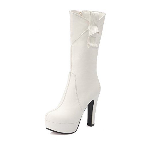 Leather Heels Boots 1TO9 Chunky Imitated Ladies White Spun Platform Bowknot Gold qZq84SEn